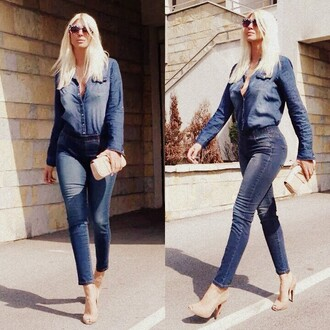 pants denim shirt denim blue jeans blue all denim sunglasses pumps high heel pumps peep toe pumps clutch