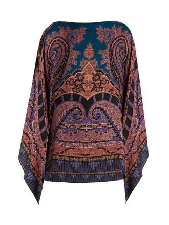 poncho print silk wool paisley pink top