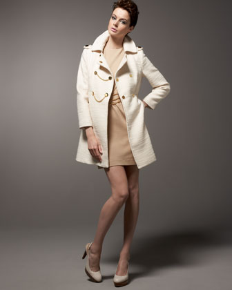 Milly Phoebe Marais Tweed Coat & Triple-Chain Ponte Dress - Neiman Marcus