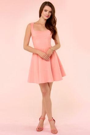 Peach Dress - Skater Dress - Pink Dress - $42.00