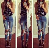 heels,sandals,kimono,t-shirt,jeans,ripped,jullnard,fashion,model,Choies,hair accessory,ripped jeans,jumpsuit,top,lace up,skinny jacket,denim jacket,skinny pants,skinny jeans,denim,skinny,style,classy,black and white,high heels,boots,denim pants,blue skinny jeans,crop tops,topshop,blouse,love is in the air,shoes