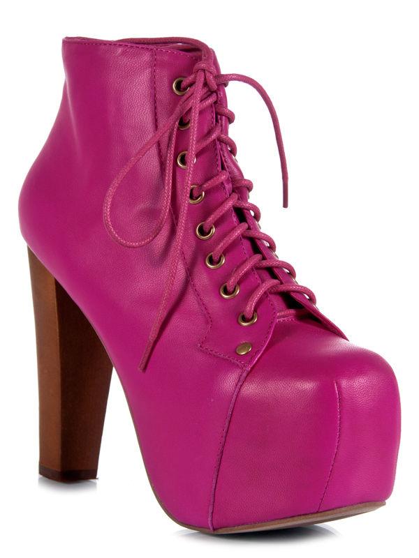 JEFFREY CAMPBELL LITA Fuchsia Neon Hot Pink Platform Women sz Pump Bootie Boot | eBay