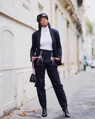 top turtleneck white turtleneck top pants black pants blazer black blazer boots white top lace up streetstyle jacket
