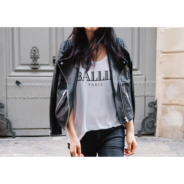 t-shirt alex and chloe alex & chloe ballin paris ballin paris leather jacket biker jacket leather black black jacket white t-shirt white skinny jeans white tee balmain celine givenchy unif wildfox t-shirt chanel chanel t-shirt