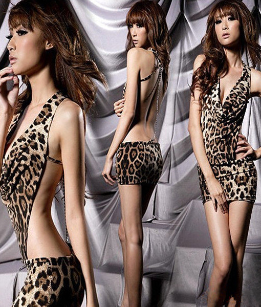 Super Sexy Women's V-neck Halter Backless Leopard One Piece Dress Free& Drop Shipping   Amazing Shoes UK