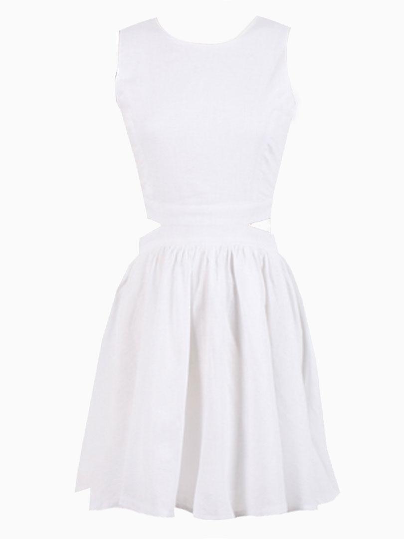 Cut Out Waist Skater Dress in White - Choies.com