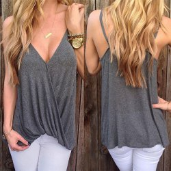 9473174585 Wholesale Stylish Loose-Fitting Solid Color Spaghetti Strap Tank Top For  Women (GRAY,XL), Tank Tops ...
