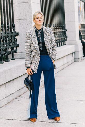 jacket plaid blazer pants check blazer plaid blue pants wide-leg pants scarf fall outfits