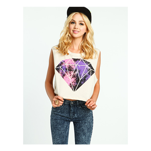Galactic Diamond Cropped Tee - Polyvore
