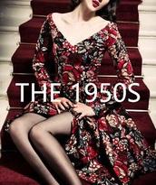 dress,black dress,printed dress,1950 vintage,vintage,vintage dress