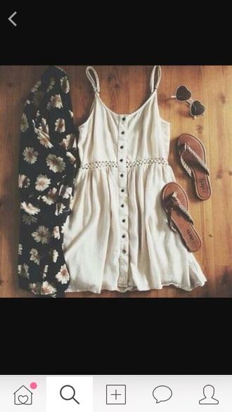 dress white white dress pretty summer dress summer boho hippie chic