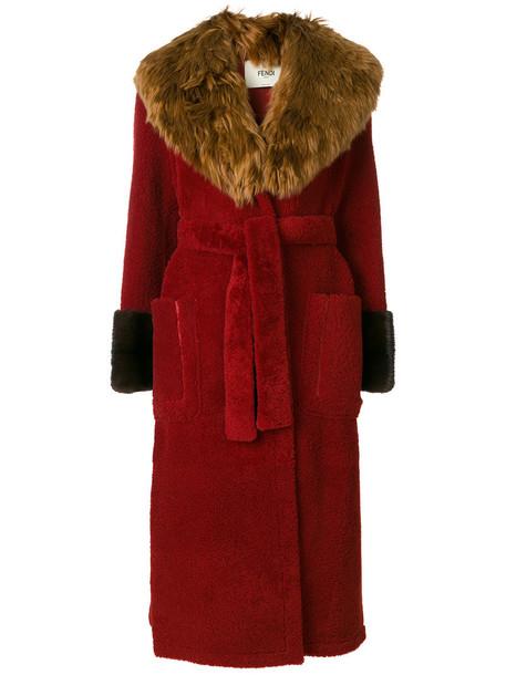 Fendi coat fur women red