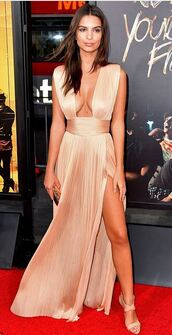 dress,gown,prom dress,sexy dress,emily ratajkowski,sandals,nude dress,slit dress,plunge dress,plunge v neck,blouse