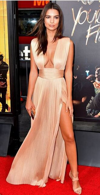 dress gown prom dress sexy dress emily ratajkowski sandals nude dress slit dress plunge dress plunge v neck