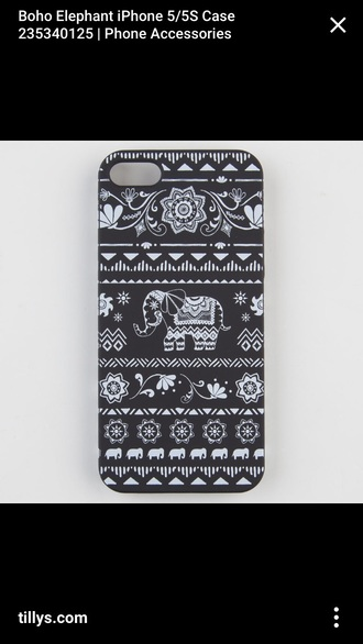 phone cover elephant indian black white
