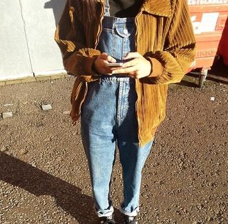 jacket brown jacket denim overalls vintage jumpsuit
