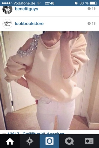 rose sweater glitter cut out shirt shoulder free