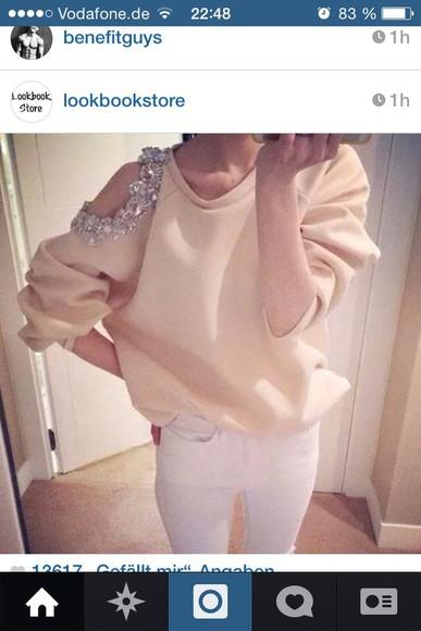 rose sweater glitter cut out shirt shoulder free