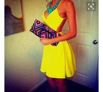 dress neon yellow open back dress