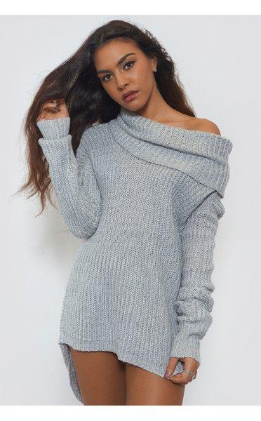 Oversized Grey Bardot Jumper - from The Fashion Bible UK