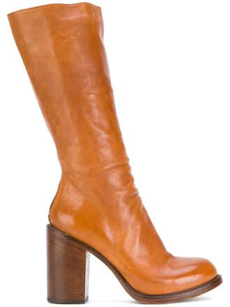 heel chunky heel women boots heel boots leather brown shoes