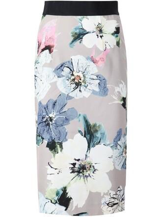 skirt pencil skirt floral print nude