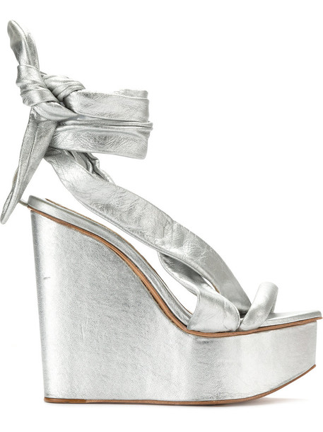 Andrea Bogosian metallic women sandals leather sandals leather grey shoes