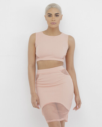 skirt crop tops mesh mesh skirt mesh crop top mesh panels outfit outfit set pink pink outfit