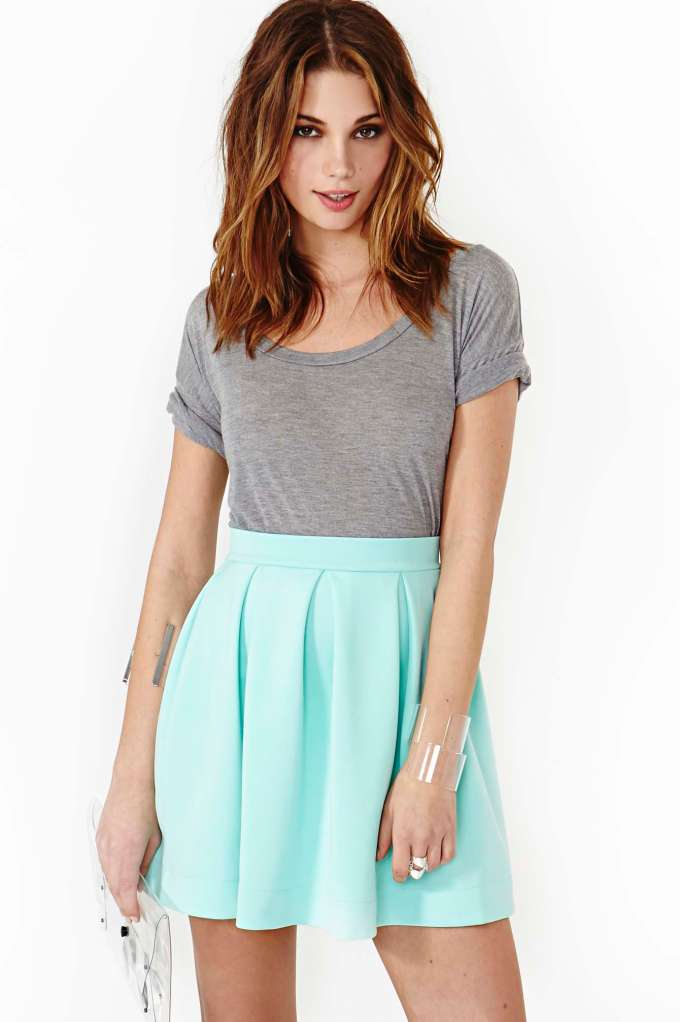 Scuba Skater Skirt - Mint | Shop Clothes at Nasty Gal