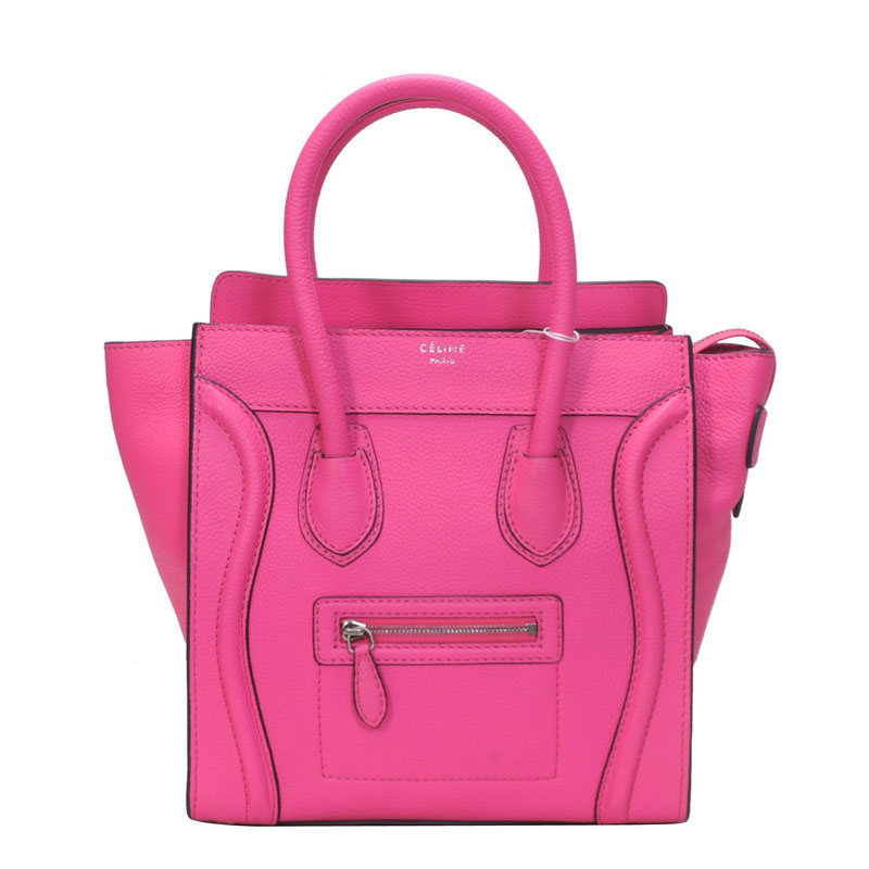 Newest Celine Boston Smile Leather Pink Bag 11 On Sale.