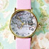 jewels,map watch,watch,pink,vintage style watch,freeforme,boyfriend watch,lookbook