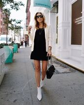 shoes,boots,white boots,dress,black dress,sunglasses