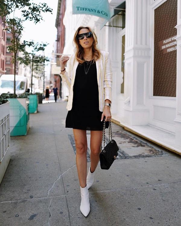 50e1b8bf54104a shoes boots white boots dress black dress sunglasses.