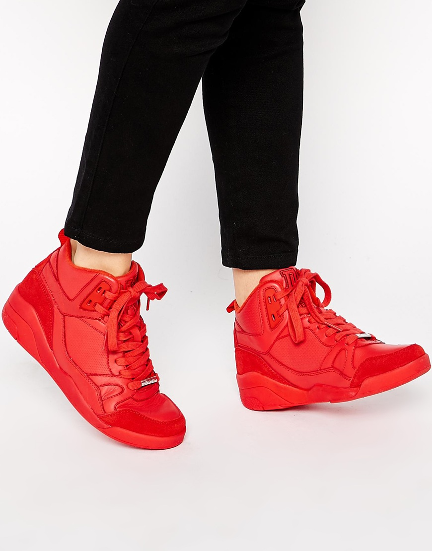 Dkny active cleo red suede trainers at asos.com