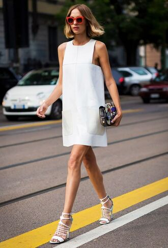 dress white dress short dress mini dress sandals high heel sandals white sandals summer outfits summer dress bag sunglasses red sunglasses all white everything minimalist dress