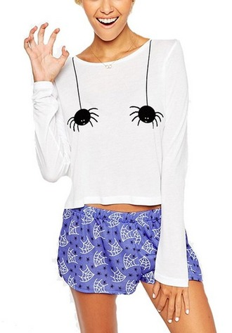 shirt spider print white shirt long sleeves