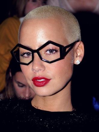 amber rose black glasses geometric