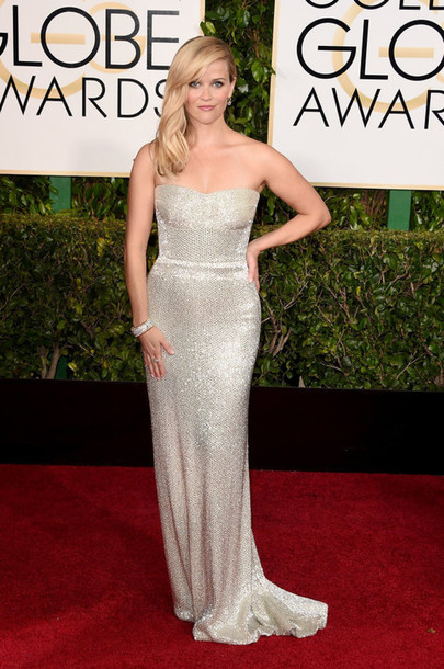 dress bustier dress silver red carpet dress reese witherspoon Golden Globes 2015 calvin klein