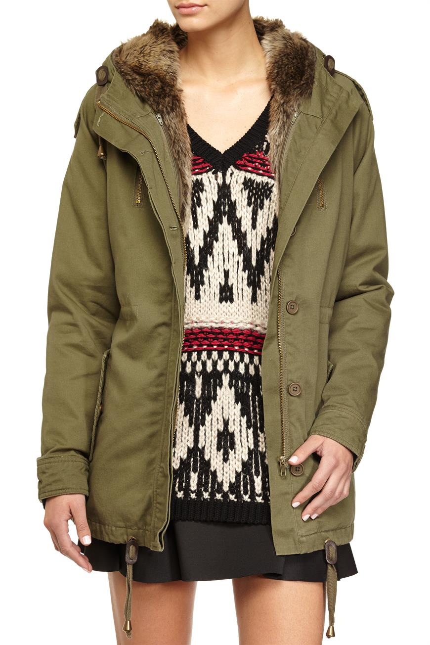 Faux real lined parka