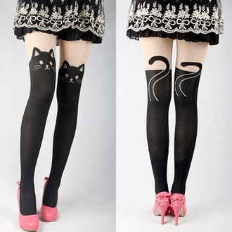 cat tights animal tights ears tail whiskers nose eyes black and white shoes cats leggings