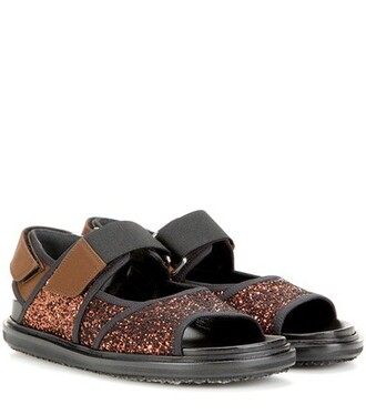 glitter sandals brown shoes