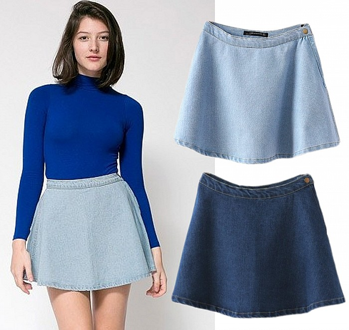 Vintage Classic High Waist Pleated Flared Circle Skater Denim ...