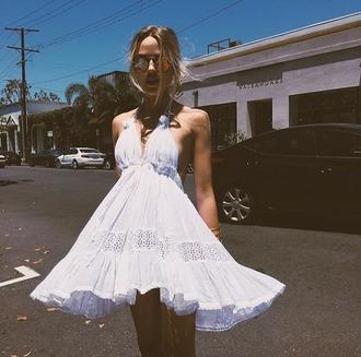 dress sunday saint-tropez white white dress summer summer dress summer outfits halter neck halter dress