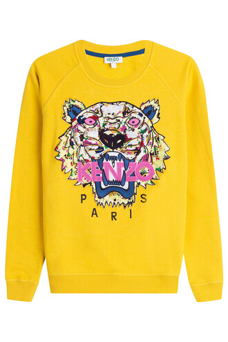 sweatshirt embroidered cotton yellow sweater