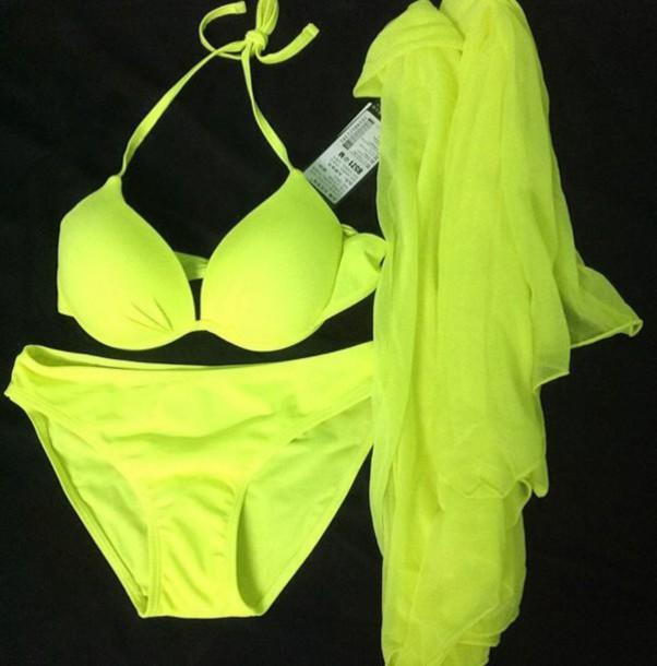 Swimwear Yellow Neon Yellow Neon Green Bikini Bikini Top