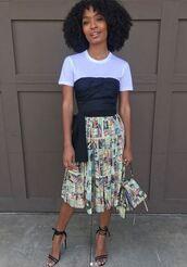 skirt,midi skirt,top,white top,strapless,black top,yara shahidi,instagram,sandals,pleated,print,spring outfits,sandal heels