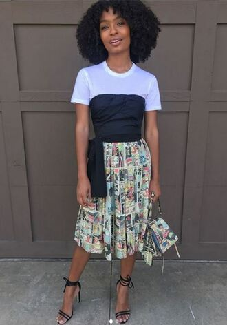 skirt midi skirt top white top strapless black top yara shahidi instagram sandals pleated print spring outfits sandal heels