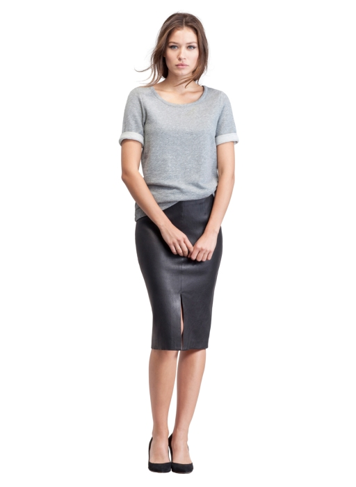 Ravenna Leather Skirt - Caviar Black