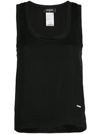 tank top top women black silk