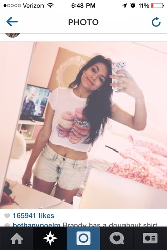 shirt t-shirt donut crop tops bethany mota shorts denim shorts